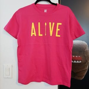 Graniph Design Tshirts Store Hot Pink Alive Tee